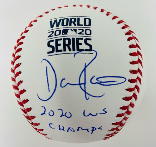 "DAVE ROBERTS Los Angeles Dodgers Autographed / Inscribed ""20 WS Champs"" 2020 MLB World Series Logo Baseball FANATICS"