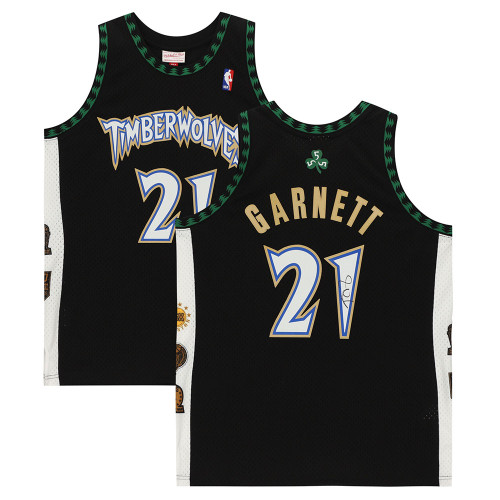 KEVIN GARNETT Autographed Minnesota Timberwolves Black Mitchell & Ness Hall of Fame Swingman Jersey FANATICS