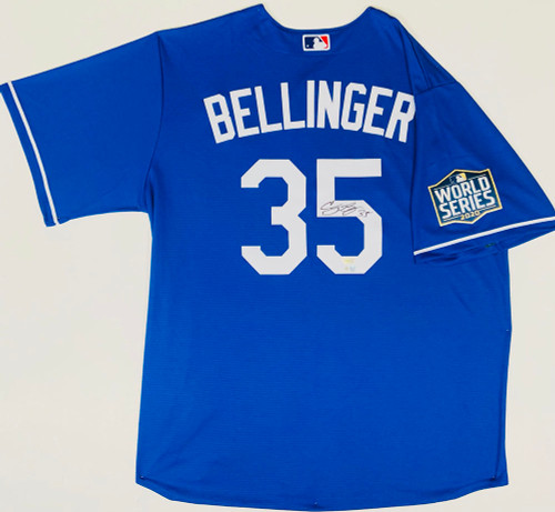 CODY BELLINGER Autographed Los Angeles Dodgers Nike 2020 MLB World Series Logo Patch Blue Jersey FANATICS
