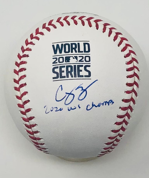 "COREY SEAGER Los Angeles Dodgers Autographed / Inscribed ""20 WS Champs"" 2020 MLB World Series Logo Baseball FANATICS"
