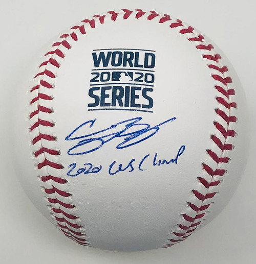 "CODY BELLINGER Autographed / Inscribed ""20 WS Champs"" Los Angeles Dodgers 2020 MLB World Series Logo Baseball FANATICS"