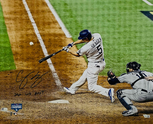 """COREY SEAGER Autographed / Inscribed """"2020 WS MVP"""" Los Angeles Dodgers 2020 MLB World Series Champions 16' x 20' Photograph FANATICS"""