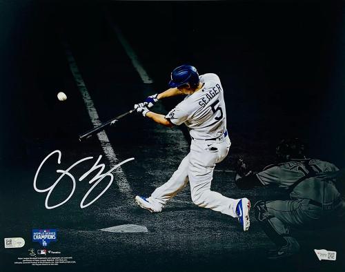 "COREY SEAGER Autographed Los Angeles Dodgers 2020 MLB World Series Champions 11"" x 14"" Spotlight Photograph FANATICS"