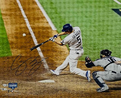 "COREY SEAGER Autographed Los Angeles Dodgers 2020 MLB World Series Champions Hitting 16"" x 20"" Photograph FANATICS"