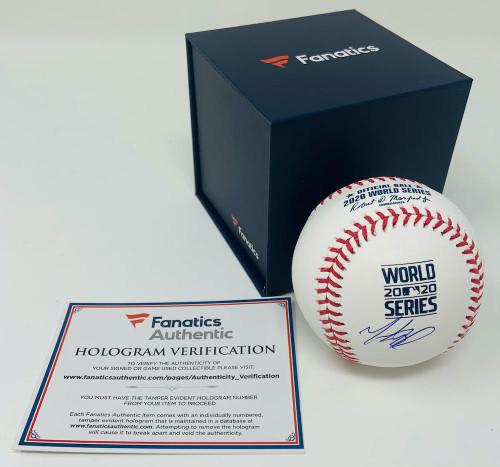 MOOKIE BETTS Los Angeles Dodgers Autographed 2020 World Series Logo Baseball FANATICS