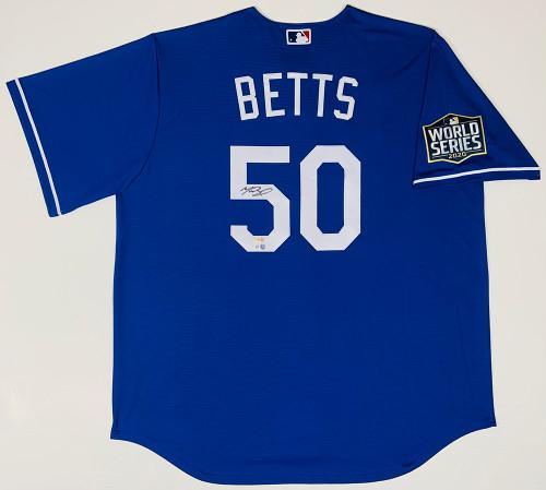 MOOKIE BETTS Autographed Los Angeles Dodgers Nike 2020 MLB World Series Logo Patch Blue Jersey FANATICS
