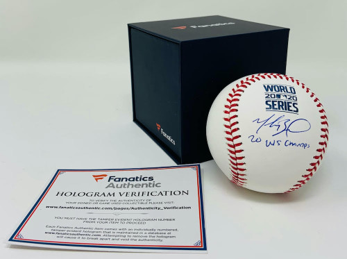 "MOOKIE BETTS Los Angeles Dodgers Autographed / Inscribed ""20 WS Champs"" 2020 MLB World Series Logo Baseball FANATICS"