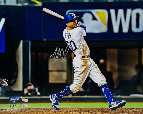 "MOOKIE BETTS Autographed Los Angeles Dodgers 2020 MLB World Series 16"" x 20"" Hitting Photograph FANATICS"