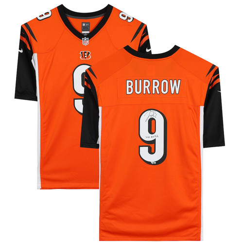 "JOE BURROW Autographed / Inscribed ""2020 #1 Draft Pick"" Cincinnati Bengals Orange Nike Game Jersey FANATICS"
