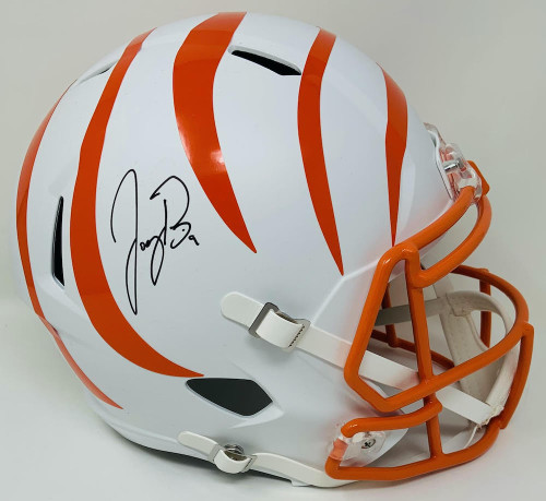JOE BURROW Autographed Cincinnati Bengals White Matte Speed Full Size Helmet FANATICS