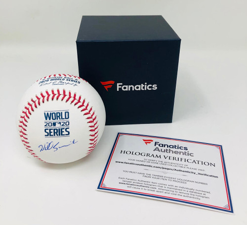 WILL SMITH Autographed Los Angeles Dodgers 2020 World Series Baseball FANATICS