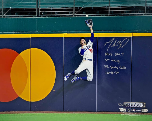 "MOOKIE BETTS Autographed / Multi Inscribed Los Angeles Dodgers 2020 NLCS Home Run Robbing Catch 16"" x 20"" Photograph Limited to 50 FANATICS"