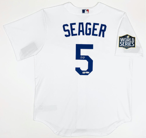 COREY SEAGER Autographed Los Angeles Dodgers Nike 2020 MLB World Series Logo Patch White Jersey FANATICS