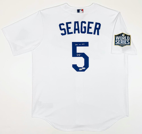 """COREY SEAGER Autographed / Inscribed """"2020 WS MVP"""" Los Angeles Dodgers Nike 2020 MLB World Series Logo Patch White Jersey FANATICS"""