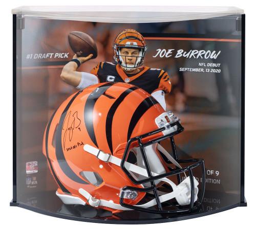 """JOE BURROW Signed """"2020 #1 Pick"""" Authentic Cincinnati Bengals Helmet Curve Display FANATICS LE 1/9"""