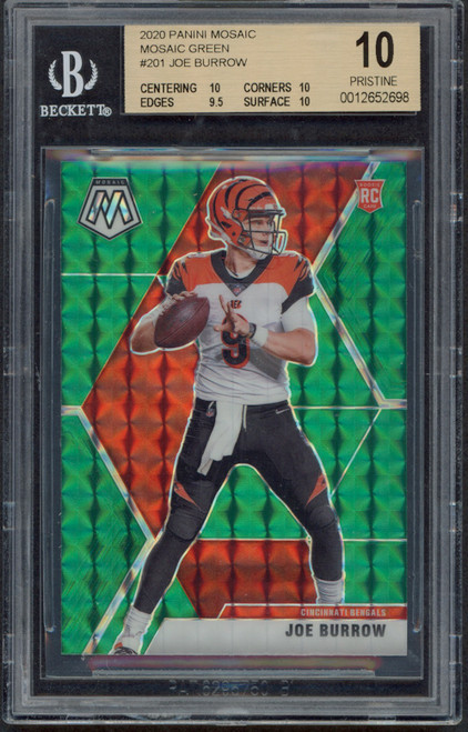2020 Mosaic Joe Burrow Cincinnati Bengals Green Prizm #201 Population One BECKETT 10