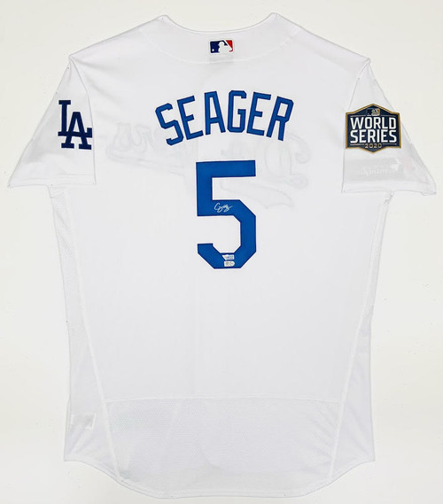 COREY SEAGER Autographed Los Angeles Dodgers Nike World Series Logo Patch White Authentic Jersey FANATICS