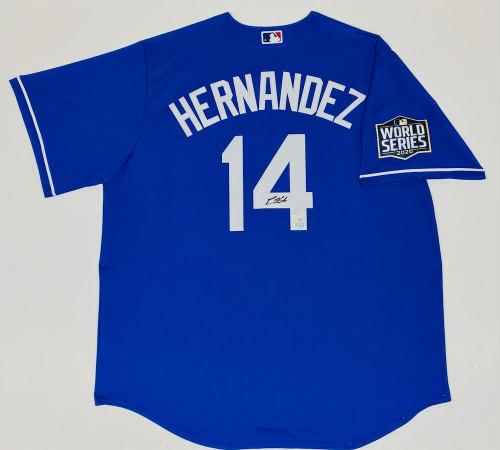 ENRIQUE HERNANDEZ Autographed Los Angeles Dodgers Nike 2020 MLB World Series Logo Patch Blue Jersey FANATICS
