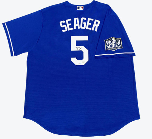 COREY SEAGER Autographed Los Angeles Dodgers Nike 2020 MLB World Series Champions Logo Patch Blue Jersey FANATICS