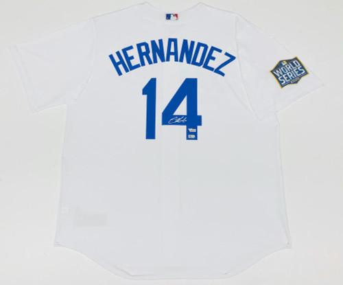 ENRIQUE HERNANDEZ Autographed Los Angeles Dodgers Nike 2020 MLB World Series Logo Patch White Jersey FANATICS