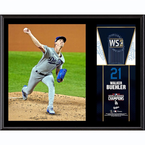"WALKER BUEHLER Los Angeles Dodgers 2020 MLB World Series Champions 12"" x 15"" Sublimated Plaque FANATICS"