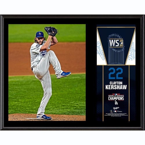 "CLAYTON KERSHAW Los Angeles Dodgers 2020 MLB World Series Champions 12"" x 15"" Sublimated Plaque FANATICS"