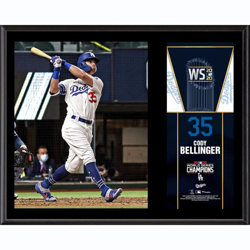 "CODY BELLINGER Los Angeles Dodgers 2020 MLB World Series Champions 12"" x 15"" Sublimated Plaque FANATICS"