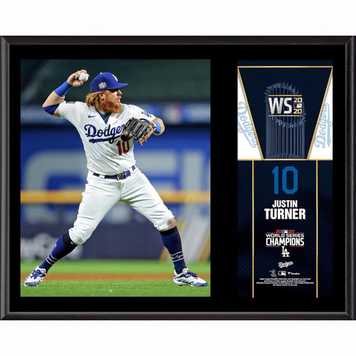 "JUSTIN TURNER Los Angeles Dodgers 2020 MLB World Series Champions 12"" x 15"" Sublimated Plaque FANATICS"