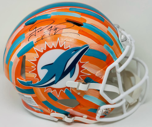 TUA TAGOVAILOA Autographed Miami Dolphins Riddell Speed Authentic Helmet - Hand-Painted Art by Charlie Turano III (Orange) FANATICS Limited Edition 1 of 1