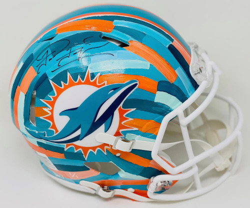 TUA TAGOVAILOA Autographed Miami Dolphins Riddell Speed Authentic Helmet - Hand-Painted Art by Charlie Turano III (Throwback Teal) FANATICS Limited Edition 1 of 1