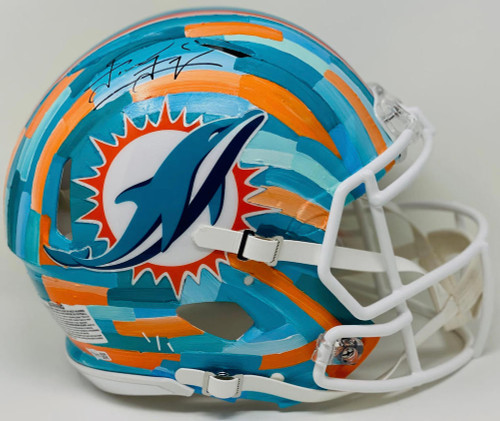 TUA TAGOVAILOA Autographed Miami Dolphins Riddell Speed Authentic Helmet - Hand-Painted Art by Charlie Turano III (Teal) FANATICS Limited Edition 1 of 1