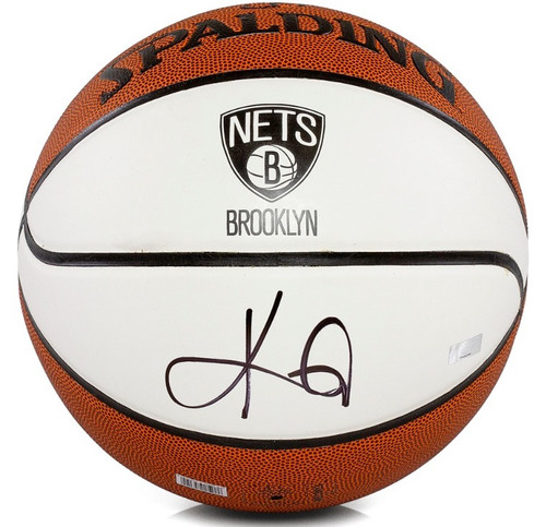 KYRIE IRVING Autographed Brooklyn Nets White Panel Spalding Basketball PANINI