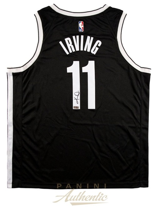 KYRIE IRVING Autographed Brooklyn Nets Black Nike Jersey PANINI