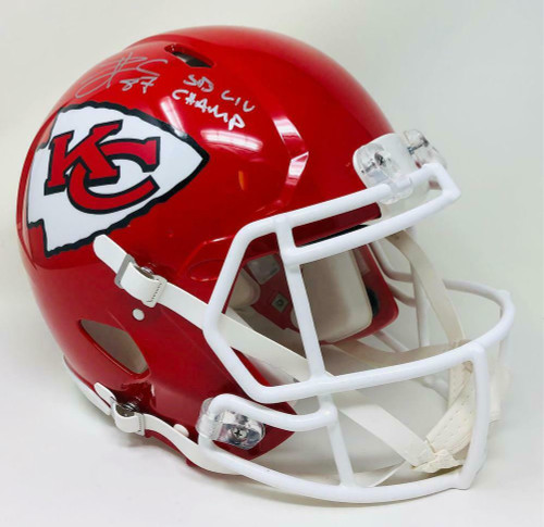 "TRAVIS KELCE Autographed Kansas City Chiefs ""SB LIV Champ"" SB Logo Authentic Speed Helmet FANATICS"