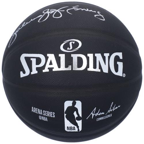 JULIUS ERVING Autographed Philadelphia 76ers Black Spalding Basketball FANATICS
