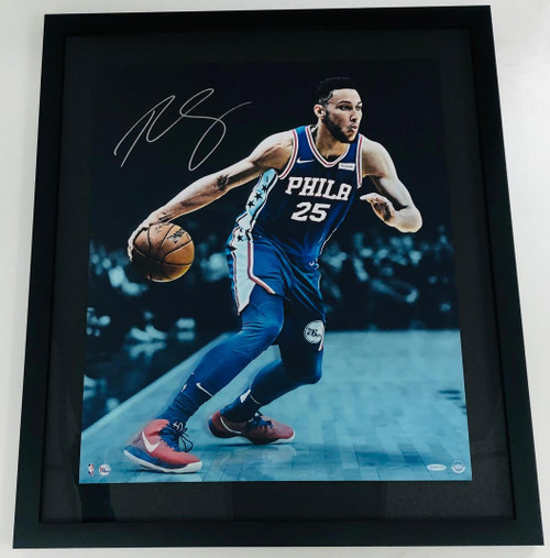 "BEN SIMMONS Autographed Framed Philadelphia 76ers ""Vision"" 24"" x 28"" Photo UDA"