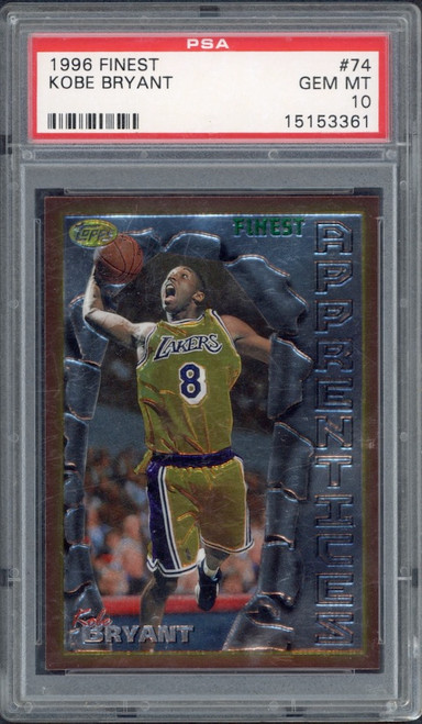 KOBE BRYANT 1996 TOPPS Finest RC #74 No Coating Rookie Lakers PSA Gem Mint 10