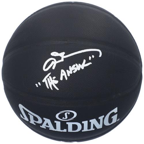 "ALLEN IVERSON Autographed ""The Answer"" Philadelphia 76ers Black Basketball FANATICS"