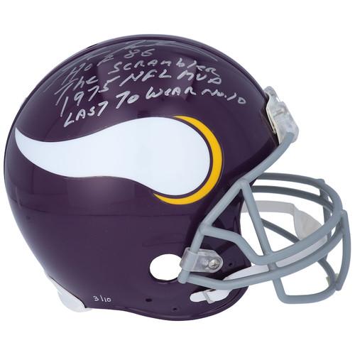 FRAN TARKENTON Autographed Career Stat Minnesota Vikings Proline Helmet FANATICS LE 10