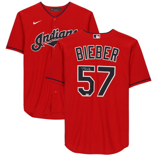 SHANE BIEBER Autographed Cleveland Indians Red Nike Jersey FANATICS