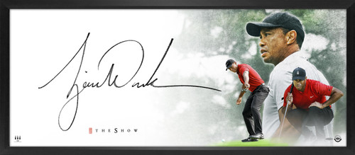 """TIGER WOODS Autographed """"Masterpiece"""" The Show 44"""" x 18"""" Display UDA"""