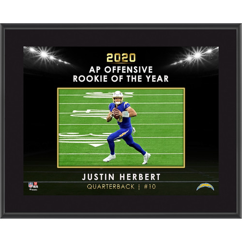 """JUSTIN HERBERT Los Angeles Chargers 2020 OROY Framed 10"""" x 13"""" Plaque"""