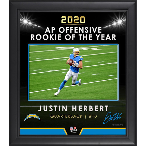 """JUSTIN HERBERT Los Angeles Chargers 2020 OROY Framed 15"""" x 17"""" Collage"""