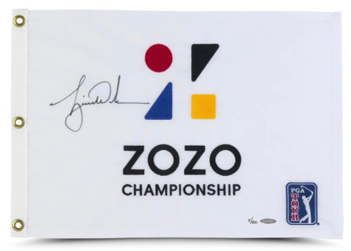 TIGER WOODS Autographed 2019 ZOZO Championship Pin Flag UDA LE 500