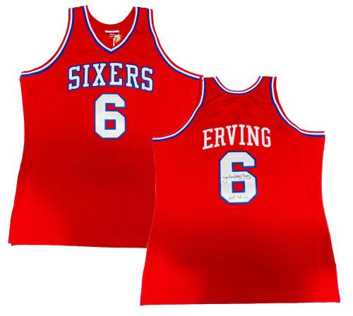 """JULIUS ERVING Autographed """"HOF '93"""" Philadelphia 76ers Authentic M&N Jersey FANATICS"""