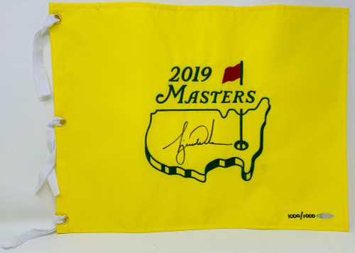 TIGER WOODS Autographed 2019 The Masters Pin Flag UDA LE 1000/1000