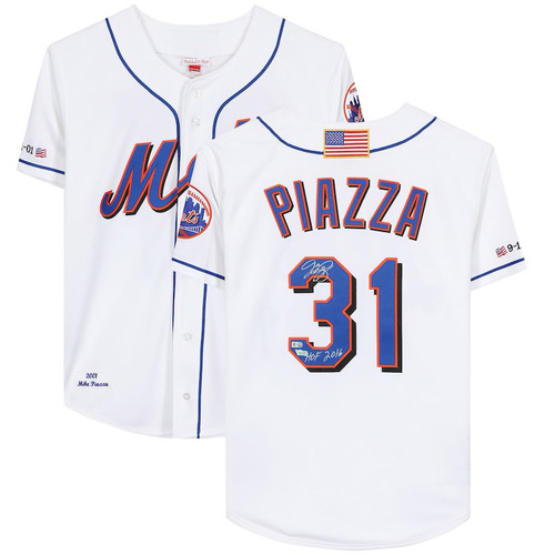 """MIKE PIAZZA Autographed and Inscribed """"HOF 2016"""" New York Mets Authentic Jersey FANATICS"""