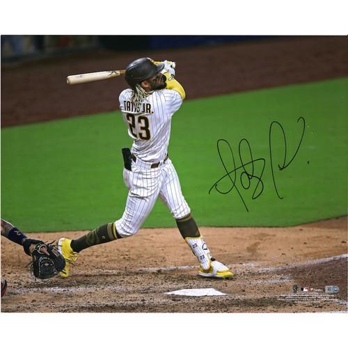 "FERNANDO TATIS Jr. Autographed San Diego Padres ""Hitting"" 16"" x 20"" Photograph FANATICS"