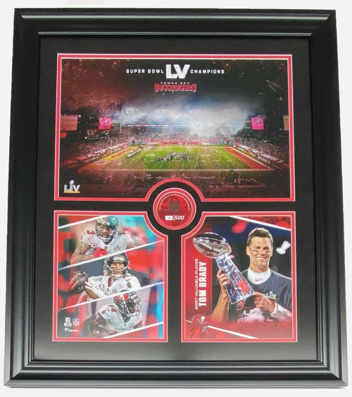 TAMPA BAY BUCCANEERS Super Bowl LV Champs 20 x 24 GU Football Collage LE 12/500