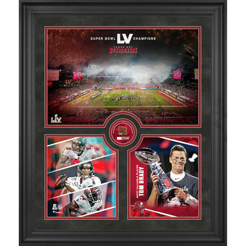 """TAMPA BAY BUCCANEERS Super Bowl LV Champs 20"""" x 24"""" GU Football Collage LE 500"""